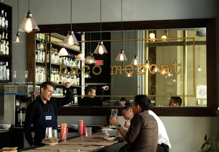 """Customers inside Bäco Mercat restaurant on Main Street in downtown Los Angeles <span class=""""copyright"""">(Mel Melcon / Los Angeles Times)</span>"""
