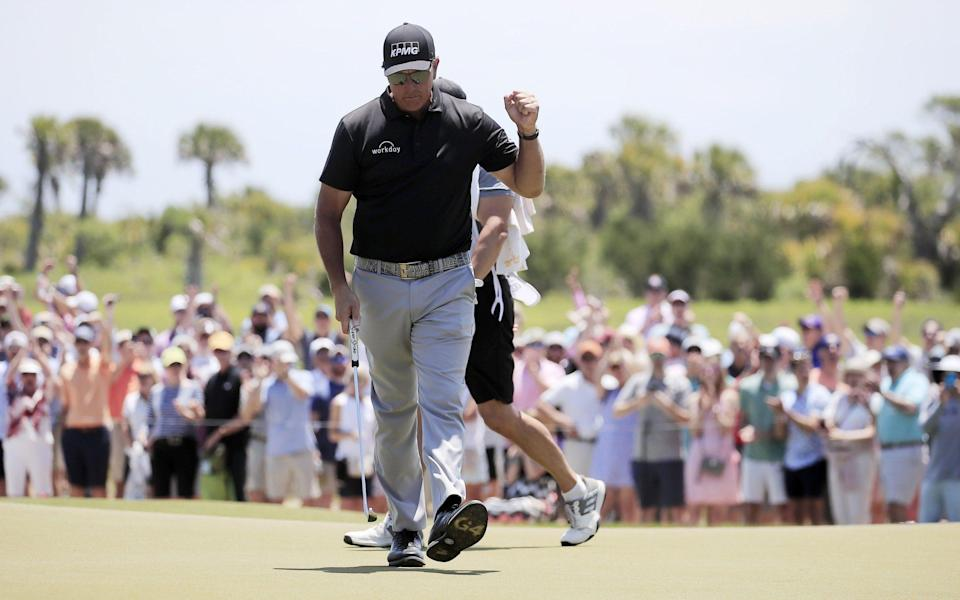 Phil Mickelson of the US reacts after sinking his putt on the ninth hole during the second round of the 2021 PGA Championship golf tournament on the Ocean Course at Kiawah Island, South Carolina, USA, 21 May 2021. The PGA Championship runs from 20 May through 23 May. 2021 PGA Championship - TANNEN MAURY/EPA-EFE/Shutterstock
