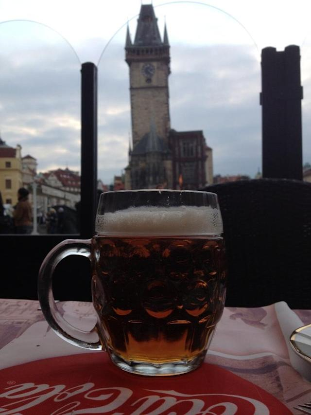 Mug of beer in Prague. (#NickInEurope)