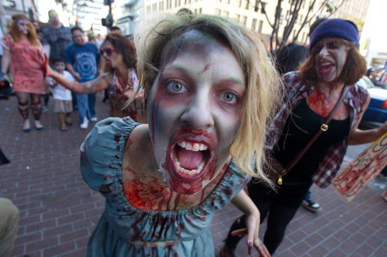 Fans participate in a ''Zombie Walk'' on July 13, 2012 in San Diego