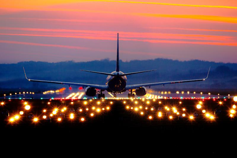 A Boeing 737 taking off.