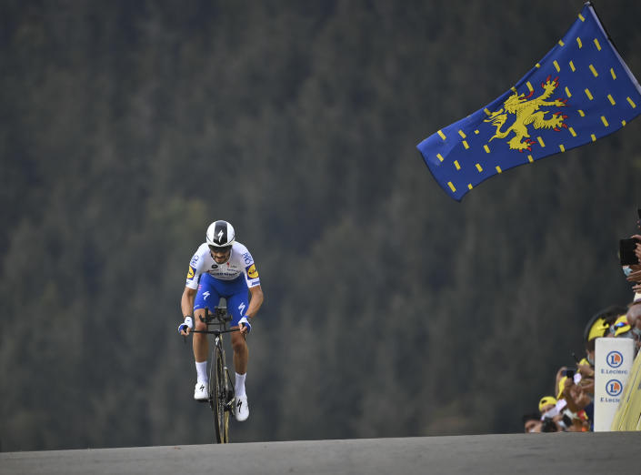 FILE - In this Sept.19 2020 file photo, France's Julian Alaphilippe competes during stage 20 of the Tour de France cycling race, an individual time trial over 36.2 kilometers (22.5 miles), from Lure to La Planche des Belles Filles, France. (Marco Bertorello/Pool via AP, File)