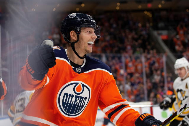 Edmonton Oilers' Alex Chiasson (39) celebrates his second goal of the night against the Pittsburgh Penguins during the second period of an NHL hockey game, in Edmonton, Alberta, Tuesday, Oct. 23, 2018. (Codie McLachlan/The Canadian Press via AP)