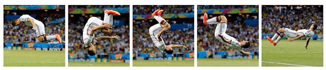 This combination of photos shows Germany's Miroslav Klose flipping to celebrate after scoring his side's second goal during the group G World Cup soccer match between Germany and Ghana at the Arena Castelao in Fortaleza, Brazil, Saturday, June 21, 2014. (AP Photo/Frank Augstein)