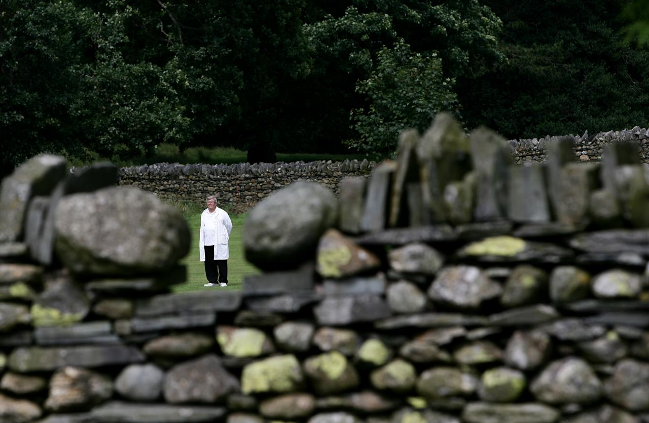 CONISTON, ENGLAND - JULY 26: The Umpire pictured through a gap in the old dry stoned wall that surround Coniston Cricket Club, the ground nestled at the foot of the 'Old Man of Coniston' on July 26, 2008 in Coniston, England.  (Photo by Laurence Griffiths/Getty Images)