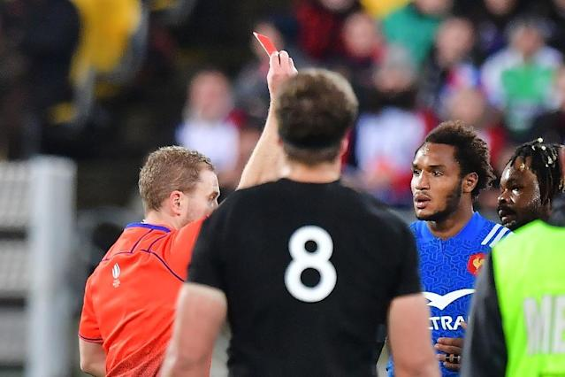 A World Rugby judicial panel ruled French fullback Benjamin Fall's mid-air collision with All Blacks fly-half Beauden Barrett was accidental (AFP Photo/Marty MELVILLE)