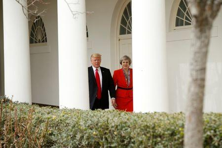 U.S. President Donald Trump escorts British Prime Minister Theresa May after their meeting at the White House in Washington, U.S., January 27, 2017.   REUTERS/Kevin Lamarque