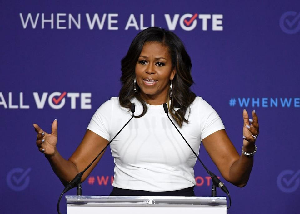 LAS VEGAS, NV - SEPTEMBER 23:  Former first lady Michelle Obama speaks during a rally for When We All Vote's National Week of Action at Chaparral High School on September 23, 2018 in Las Vegas, Nevada. Obama is the founder and a co-chairwoman of the organization that aims to help people register and to vote. Early voting for the 2018 midterm elections in Nevada begins on October 20.  (Photo by Ethan Miller/Getty Images)