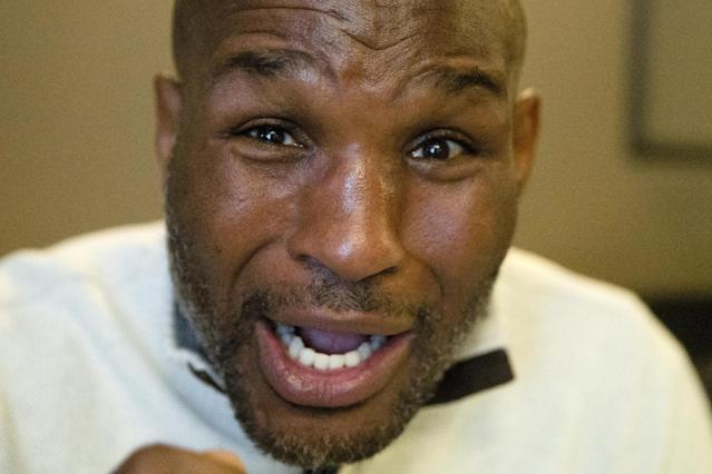In this Jan. 7, 2015, photo, boxer Bernard Hopkins speaks during an interview in Philadelphia. Hopkins turns 50 on Thursday, Jan. 15, with every intention of fighting again to make it four decades in the ring.(AP Photo/Matt Rourke)