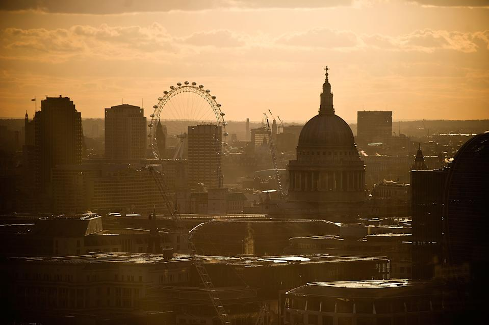 LONDON, ENGLAND - APRIL 11:  Sunset over St Pauls, London city on April 11, 2012 in London, England.  (Photo by Bethany Clarke/Getty Images)
