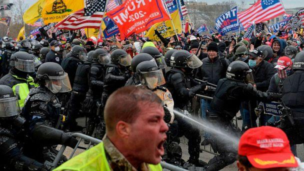 PHOTO: Trump supporters clash with police and security forces as people try to storm the Capital Building in Washington D.C on Jan. 6, 2021. Demonstrators breeched security and entered the Capitol as Congress debated Electoral Vote Certification.  (Joseph Prezioso/AFP via Getty Images)