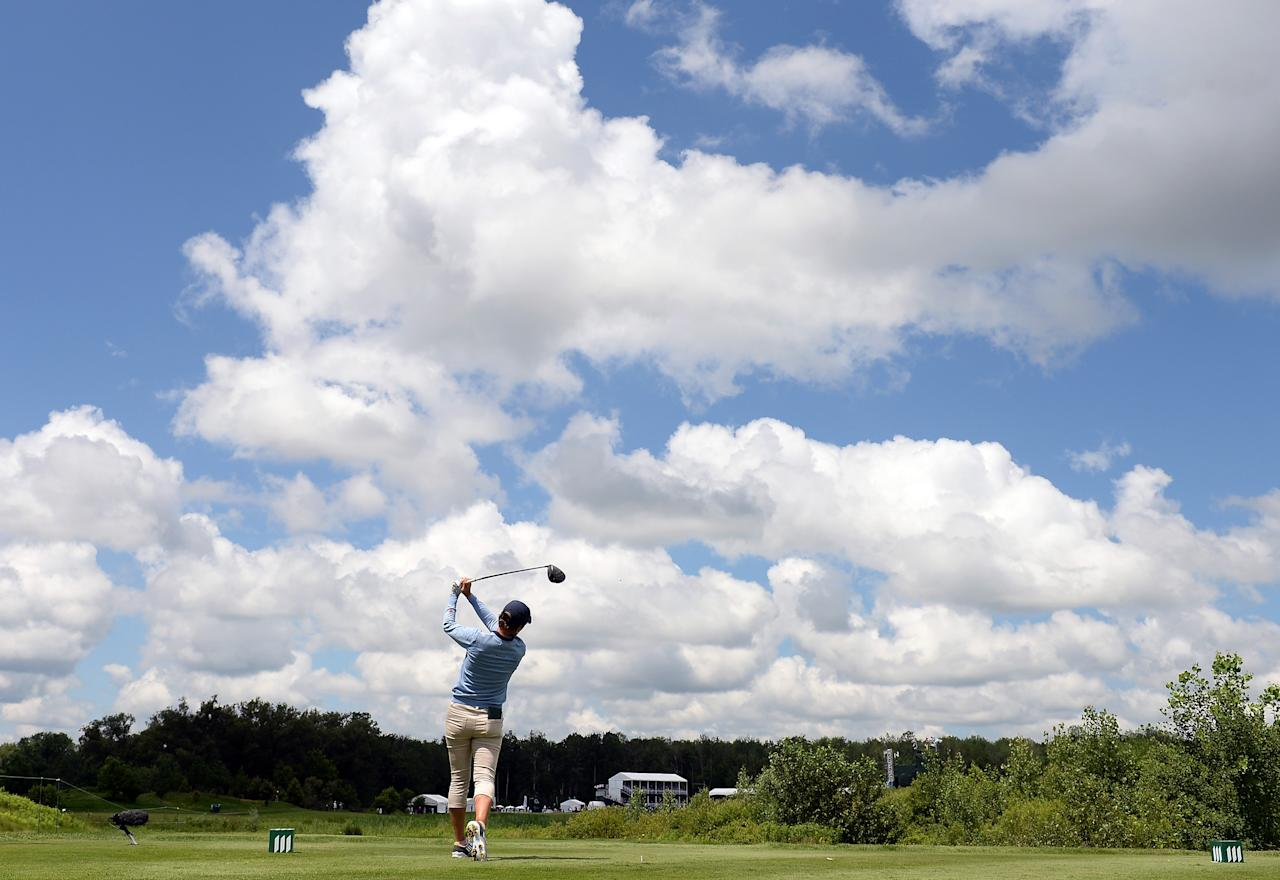 WATERLOO, CANADA - JULY 11: Catriona Matthew of Scotland hits driver on the 10th hole to finish eight under par during round one of the Manulife Financial LPGA Classic at the Grey Silo Golf Course on July 11, 2013 in Waterloo, Canada. (Photo by Harry How/Getty Images)