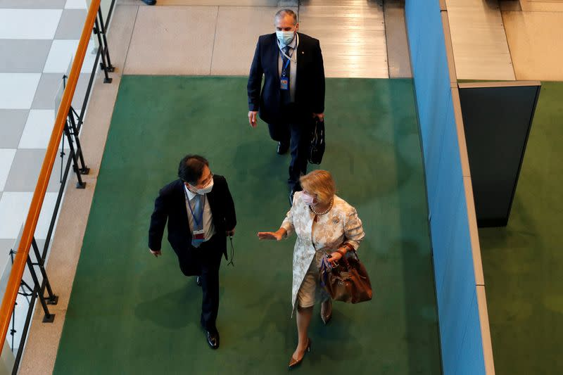 FILE PHOTO: Diplomats arrive through the delegates entrance at the 75th annual U.N. General Assembly at U.N. headquarters in New York