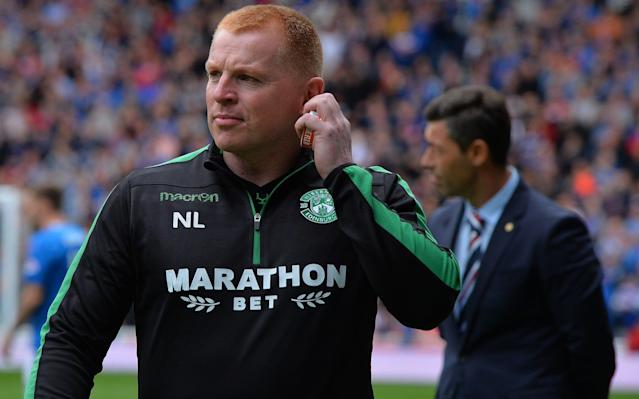 """Neil Lennon is back on the familiar territory of death threats, controversy and outrage - faux though much of the latter might be. During his time as a combative midfielder for Celtic and then, when manager of the club, he was subject to two assaults in the streets of Glasgow, another on the side of the pitch at Tynecastle and was the subject of threatening packages and bullets sent through the mail. The latest episode follows Saturday's volatile clash between Rangers and Hibernian at Ibrox, which the Easter Road side won 3-2. During his celebrations of Hibs' goals, Lennon made a pumped arm gesture towards the fans behind his technical area, who were responsible for what is understood to have been sustained invective directed towards him earlier in the proceedings. Lennon's response – commonly known in Glasgow as the 'gerrit up ye' gesture – prompted complaints to Police Scotland, whose spokesperson confirmed receipt of the fans' grievances and said: """"Enquiries are being conducted."""" Club 1872 – the Rangers supporter and shareholding group – also issued a statement condemning Lennon for his behaviour which, after the fashion of Jane Austen, they described as """"not becoming of any football manager."""" The statement also said of Lennon that he was """"one who likes to play the victim when things do not go his way"""" before adding - without evident irony - that his actions occurred """"against the backdrop of possibly the worst refereeing performance ever seen at Ibrox"""". The Club 1872 statement also reminded """"our supporters of their duty to act as ambassadors for our club"""", an admonition which did evidently did not penetrate as far down the diplomatic corps as Lennon was subject to death threats on Facebook. Hibs players celebrate during the 3-2 win against Rangers on Saturday Police Scotland said: """"We are aware of offensive and threatening comments on social media directed at a named individual."""" The Scottish Football Association, meanwhile, will review footage of the game, durin"""