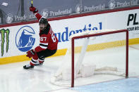 New Jersey Devils' Marian Studenic celebrates his first NHL goal during the third period of the NHL hockey game against the New York Rangers in Newark, N.J., Sunday, April 18, 2021. (AP Photo/Seth Wenig)