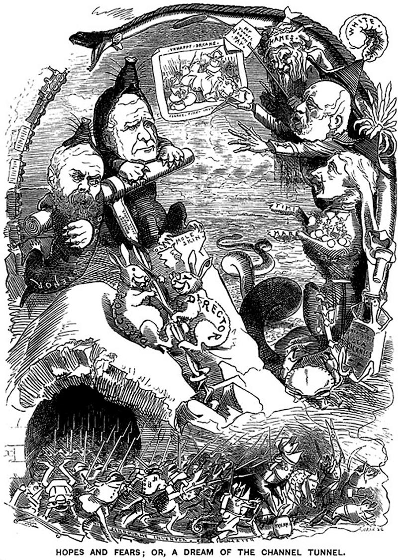 An 1882 Punch cartoon summed up Britons' fears, depicting invasion by armour-clad frogs. Similarities in tone and aesthetics to the infamous 'Breaking Point' poster 134 years later are (probably) coincidental