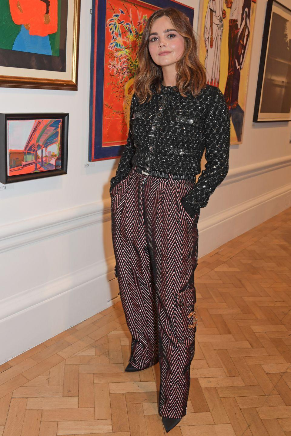 <p><strong>14 September </strong><br></p><p>Jenna Coleman attended the Royal Academy of Arts summer exhibition in statement Chanel trousers.</p>
