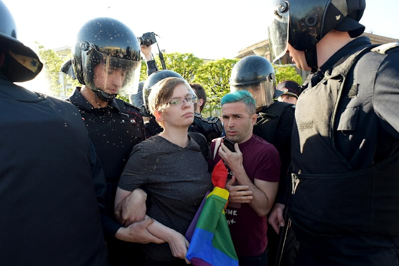 Russian riot police detained gay rights activist during World Day Against Homophobia and Transophobia in Saint Petersburg on May 17, 2019.About ten LGBT activists took part in the protest with four arrested by the police in Russia's second largest city