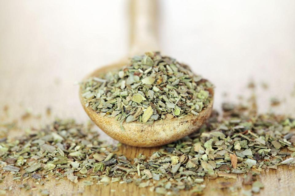 """<p>""""Oregano is a concentrated source of antioxidants, which help to <strong>reduce inflammation and soothe the stomach</strong>. To use it, steep 1 to 2 teaspoons of fresh or dried oregano in 8 ounces of hot water for approximately 10 minutes. The recommended dosage is up to three times daily."""" </p><p><em>—David Borenstein, M.D., founder, Manhattan Integrative Medicine</em></p>"""