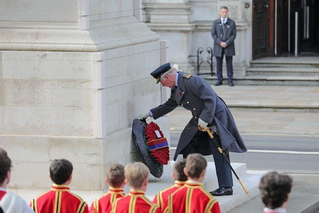 The Prince of Wales lays a wreath