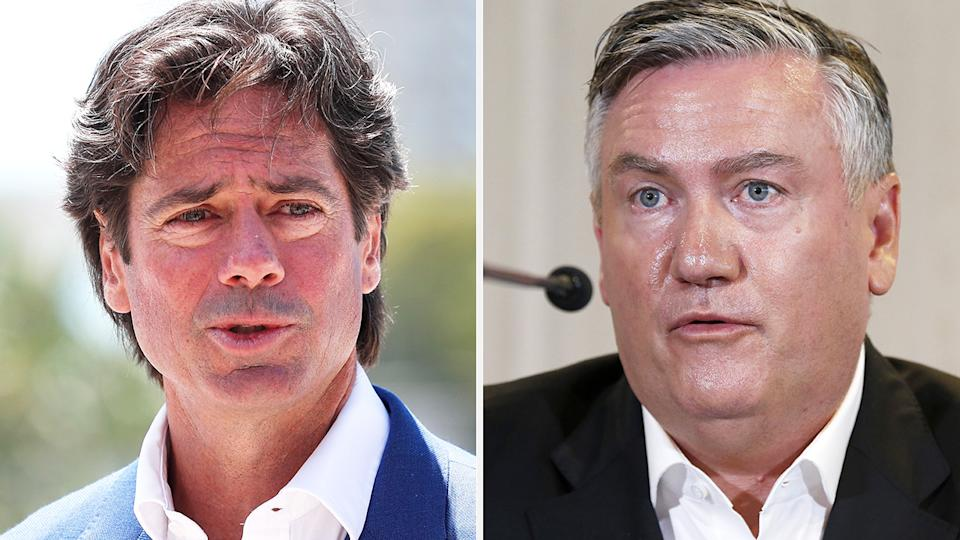 AFL boss Gillon McLachlan says he is 'disappointed' in Eddie McGure's attempt to label the release of a report outlining systemic racism at Collingwood a 'proud day' for the club. Pictures: Getty Images