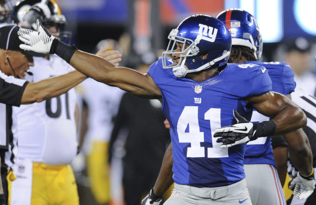 New York Giants defensive back Ross Weaver (41) reacts after the Giants recovered a fumble by the Pittsburgh Steelers in the fourth quarter of a preseason NFL football game, Saturday, Aug. 9, 2014, in East Rutherford, N.J. (AP Photo/Bill Kostroun)
