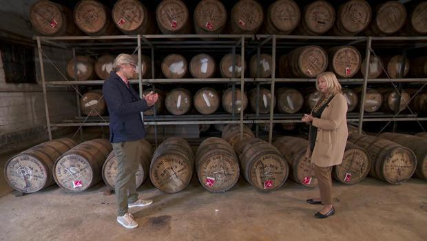 Correspondent Mo Rocca and Lisa Laird Dunn at the Laird & Company distillery. / Credit: CBS News