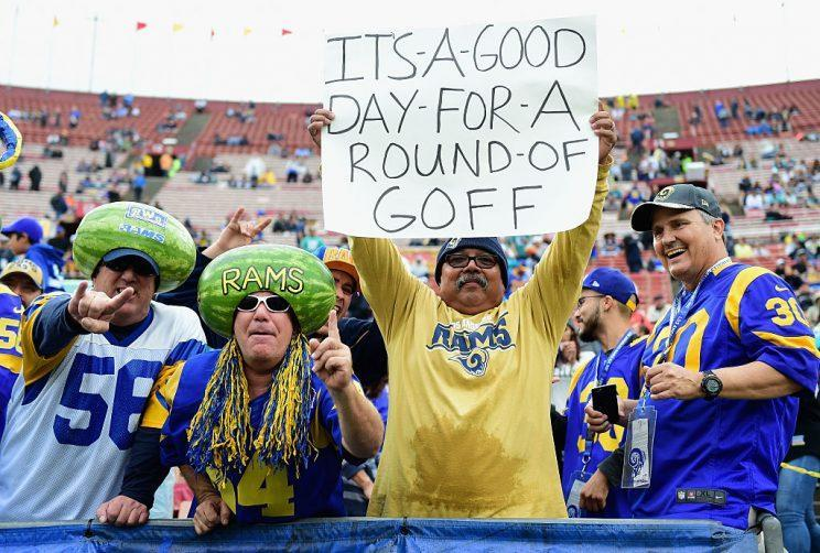 Delusional fans of last year's Rams, presumably before they saw Jared Goff in action. (Photo by Harry How/Getty Images)