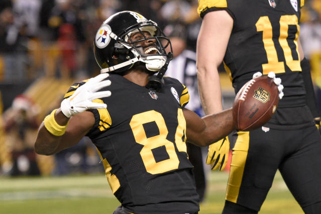Antonio Brown won't face his former team, the Steelers, on Sunday night. But a rematch could present itself in the AFC playoffs now that Brown is a Patriot. (AP)