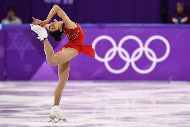 <p>USA's Mirai Nagasu competes in the women's single skating free skating of the figure skating event during the Pyeongchang 2018 Winter Olympic Games at the Gangneung Ice Arena in Gangneung on February 23, 2018. / AFP PHOTO / ARIS MESSINIS </p>