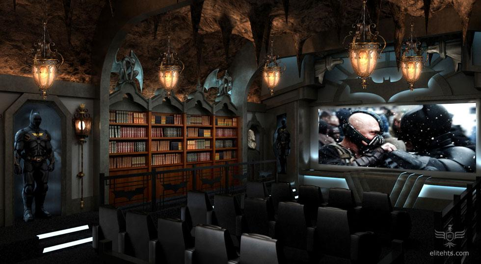 """<b>'Dark Knight' Theater</b><br><br>Many powerhouse filmmakers and  A-list actors are building home theaters that can cost up to $2 million a pop. And this batcave theater, built for an unspecified Greenwich, Connecticut, resident cost just that much to construct. <br><br>Other stars and filmmakers who have built lavish home theaters include Steven Spielberg, Tom Cruise, Michael Bay, Brett Ratner and Peter Guber -- who houses the original bat suit, worn by Michael Keaton in """"Batman,"""" a few feet away from his home theater. (Guber produced the 1989 film.)<br><br>The seating for this particular """"Dark Knight""""-themed screening room was made by Elite Home Theater Seating, a company that has aided in the creation of home theaters for stars including Matthew Perry.<br><br>Click to see more fancy features from this elaborate batcave home theater."""