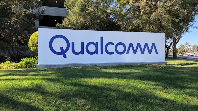 The Qualcomm sign on the company's campus.