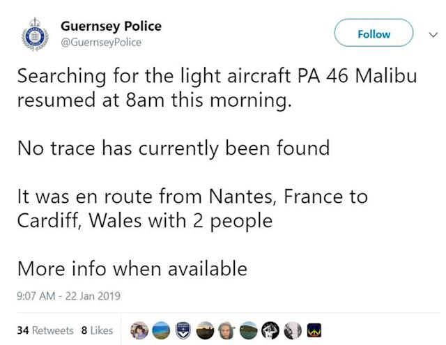 Guernsey Police released a statement on Tuesday morning confirming the search has resumed