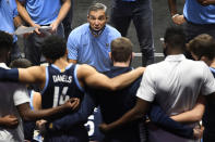 Villanova coach Jay Wright talks to his team during the second half of an NCAA college basketball game against Hartford, Tuesday, Dec. 1, 2020, in Uncasville, Conn. (AP Photo/Jessica Hill)
