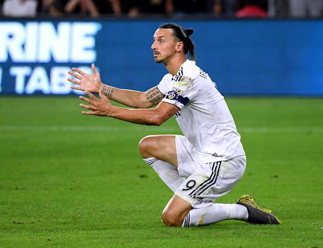 Zlatan durante un partido con LA Galaxy. Foto: Harry How/Getty Images.
