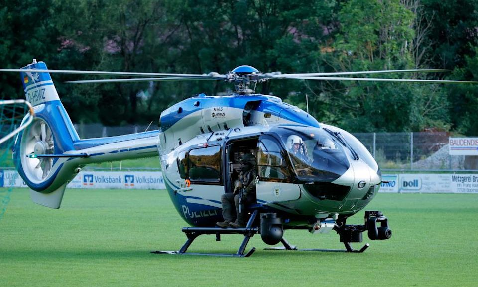 Police employed three helicopters and a canine unit in the search for the man