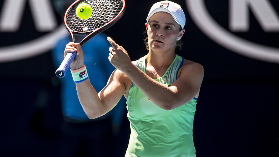 Ashleigh Barty, pictured here in action at the Australian Open in 2020.