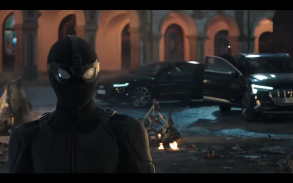 Peter models Spider-Man's new stealth suit in <em>Far From Home</em>. (Photo: Sony/YouTube)