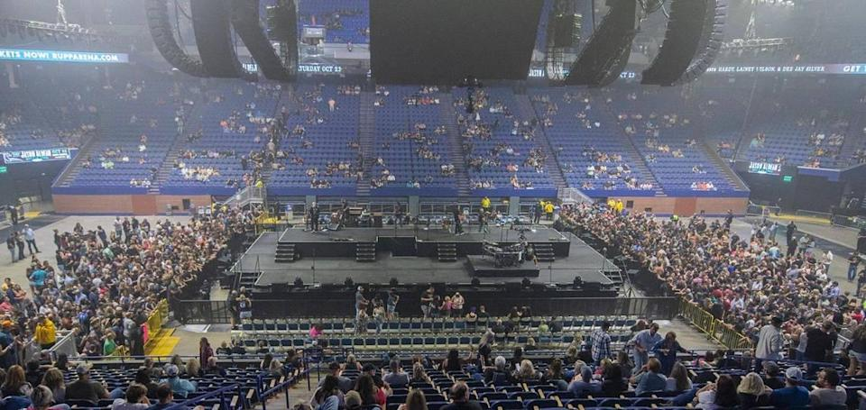 The crowd starts to gather on the Rupp Arena floor before the start of the Eric Church concert on Sept. 17.. It was the largest concert event at Rupp since the COVID-19 pandemic with 15,000-plus attending.