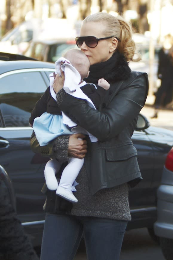 With baby Sunday in Paris, 2008