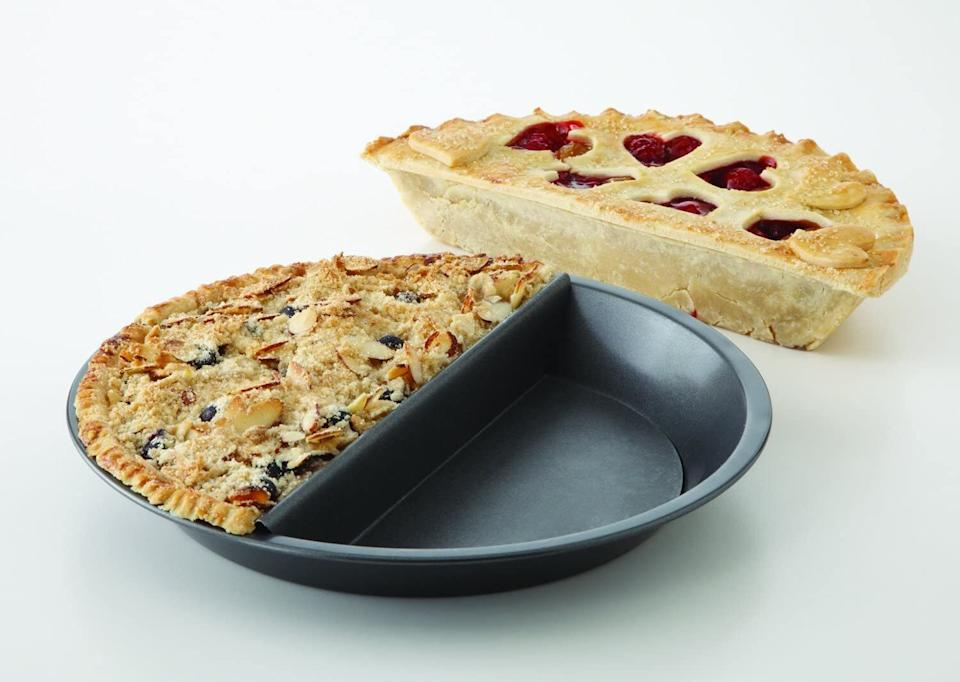"""It'llprevent you from having to choose between two pie recipes, since now you can make both. Or if you want just one pie recipe but know that if you make a whole pie it will go to waste, you can just make half of it!The pan is made of heavy-weight aluminized steel, which allows for strong heat conduction and even baking. It also features nonstick coating for easy release. It's safe in temperatures up to 450 degrees Fahrenheit, and it's dishwasher-safe.<br /><br /><strong>Promising review:</strong>""""I love cherry and he loves apple, but to make two pies would be such a waste since it's just the two of us at home, and buying store-bought pie just isn't the same. This was the perfect solution. I LOVE IT!"""" — <a href=""""https://www.amazon.com/gp/customer-reviews/RRI4HBX06Q9GN?&linkCode=ll2&tag=huffpost-bfsyndication-20&linkId=0d1ea4ef9b31cea2279a2adfe4568957&language=en_US&ref_=as_li_ss_tl"""" target=""""_blank"""" rel=""""noopener noreferrer"""">Sherry S.</a><br /><br /><strong><a href=""""https://www.amazon.com/Chicago-Metallic-Professional-Non-Stick-Decision/dp/B00576ARAA?&linkCode=ll1&tag=huffpost-bfsyndication-20&linkId=93b8d02b8a07afa3a293272454139579&language=en_US&ref_=as_li_ss_tl"""" target=""""_blank"""" rel=""""noopener noreferrer"""">Get it from Amazon for $27.46.</a></strong>"""