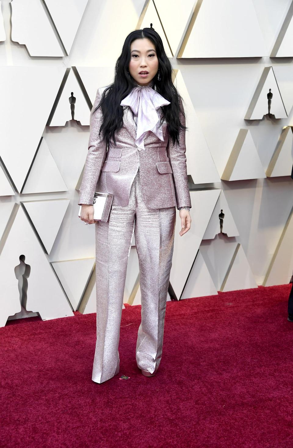 <p>Wearing a DSquared2 suit with Chopard jewels and Jimmy Choo shoes.</p>