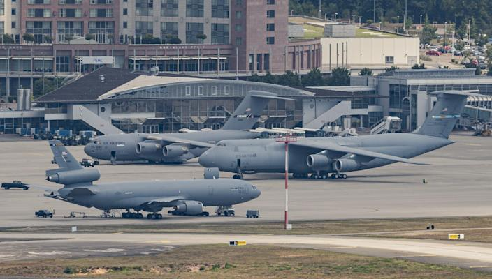 Military planes of the United States Air Force stand on the tarmac of Ramstein air base on July 20, 2020 in Ramstein-Miesenbach, Germany.