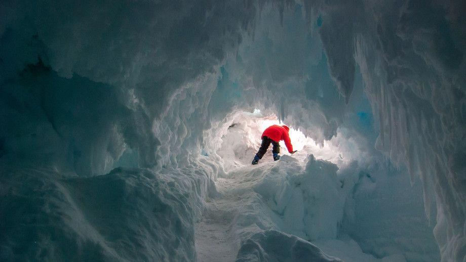 Antarctica contains extensive cave systems carved out by steam released through volcanoes that are buried under ice.