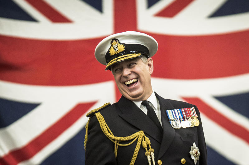 His Royal Highness The Duke of York, Prince Andrew, on parade during a 'wings' ceremony at Royal Naval Air Station Yeovilton, Somerset. PRESS ASSOCIATION Photo. Picture date: Thursday January, 29, 2015. See PA story ROYAL Andrew. Photo credit should read: Ben Birchall/PA Wire