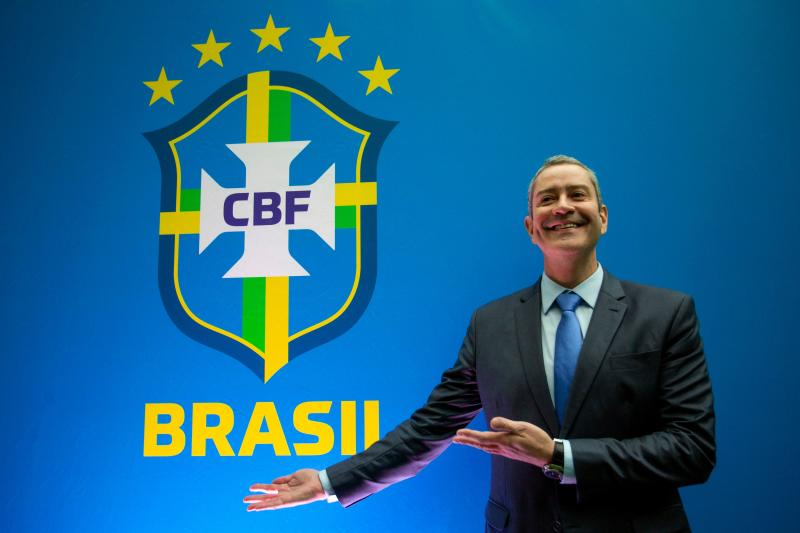 Brazilian Football Confederation (CBF) new president Rogerio Caboclo poses during a press conference after taking office, at the CBF headquarters in Barra da Tijuca, Rio de Janeiro, Brazil on April 9, 2019. (Photo by Douglas Shineidr / AFP) (Photo credit should read DOUGLAS SHINEIDR/AFP/Getty Images)