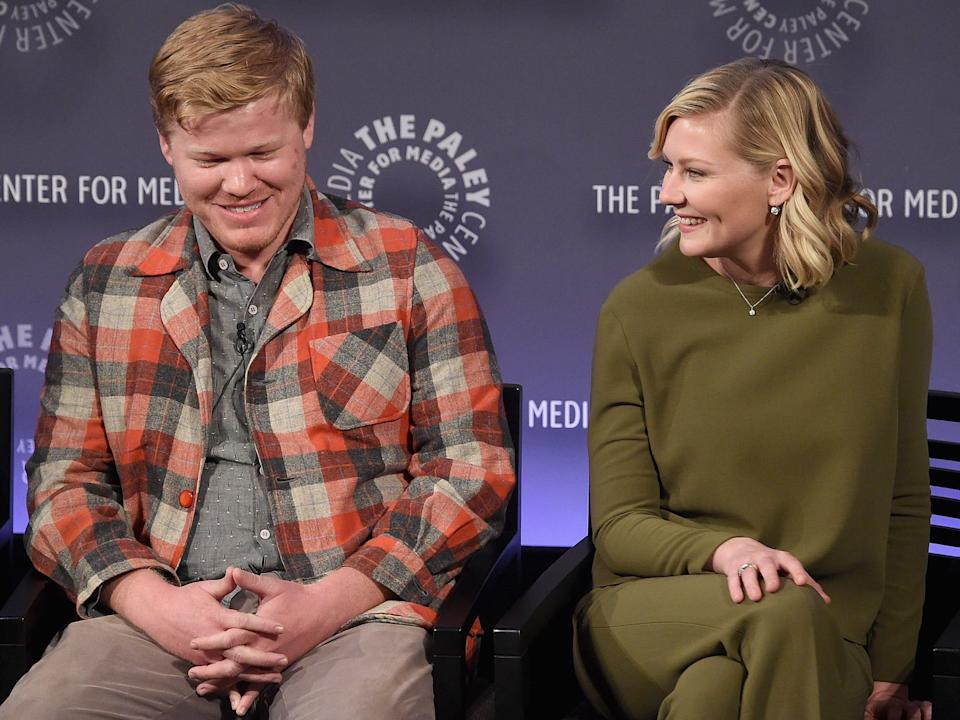 """NEW YORK, NY - OCTOBER 16: Jesse Plemons and Kirsten Dunst attend PaleyFest New York 2015 - """"Fargo"""" at The Paley Center for Media on October 16, 2015 in New York City. (Photo by Jamie McCarthy/Getty Images)"""