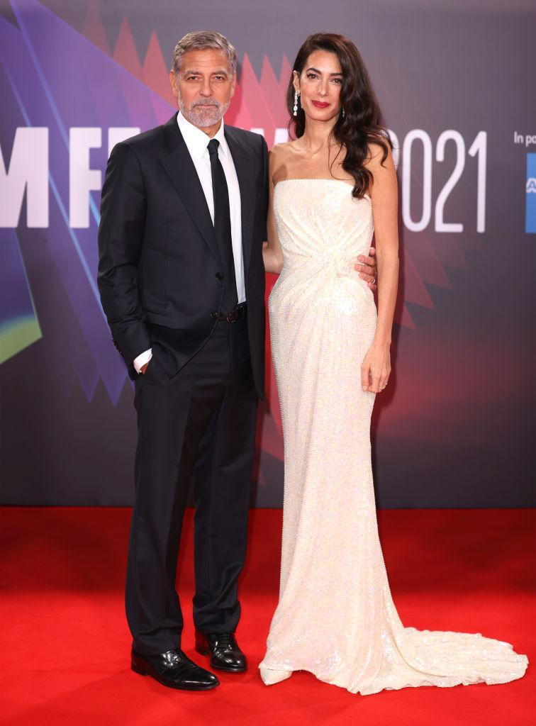 Amal Clooney wore a glittering custom-made white dress from 16Arlington. (Getty Images)