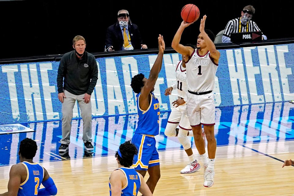 Gonzaga Bulldogs guard Jalen Suggs' buzzer-beating 3-pointer against UCLA in the Final Four was the most iconic play of the 2021 NCAA Tournament.