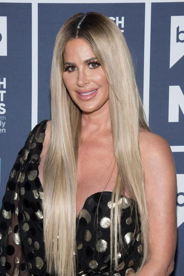 Kim Zolciak, pictured Sunday on <em>Watch What Happens Live,</em> has shared the first photo of her son Kash's face after he was bitten by a dog. (Photo: Charles Sykes/Bravo/NBCU Photo Bank via Getty Images)